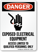 Exposed Electrical Equipment Access Limited Sign