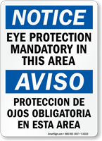 Eye Protection Mandatory Bilingual Sign
