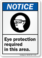Notice (ANSI): Eye Protection Required (graphic) Sign