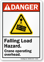 Falling Load Hazard ANSI Danger Sign