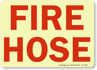 Fire Hose Sign (red on white)