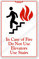 In Case of Fire Do Not Use Elevators Sign