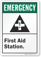 Emergency (ANSI) First Aid Station Sign