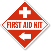 First Aid Kit Sign with Left Arrow