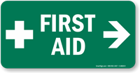 First Aid Sign with Right Arrow and Symbol