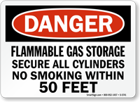 Flammable Gas Storage No Smoking Danger Sign