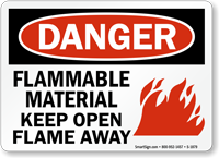 Flammable Material Keep Open Flame Away Sign