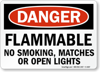 Flammable No Smoking, Matches Or Open Lights Sign