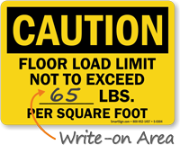 Caution Floor Load Limit Sign