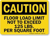 Floor Load Limit 125 Lbs Caution Sign