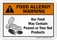 Food May Contain Peanut Tree Nut Allergy Sign