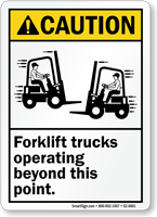 Forklift Trucks Operating Beyond This Point Sign