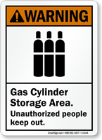 Gas Cylinders Storage Areas Warning Sign
