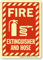 Projecting Fire Extinguisher and Hose Sign with Graphic