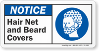 Hair Net And Beard Covers ANSI Notice Sign