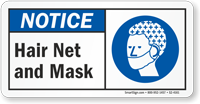 Hair Net And Mask ANSI Notice Sign