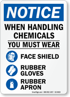 When Handling Chemicals Must Wear PPE Sign
