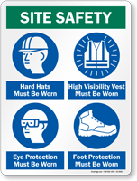 Hard Hat Ear Protection High Visibility Vest Sign