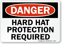 Danger Hard Hat Protection Required Sign