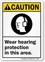 Wear Hearing Protection ANSI Caution Sign