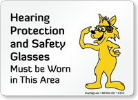 Wear Hearing Protection Safety Glasses Fun Fox Sign