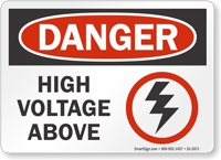 High Voltage Above OSHA Danger Sign