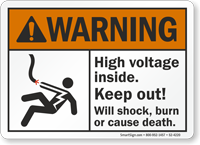High Voltage Inside Keep Out ANSI Warning Sign