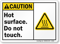 Hot Surface, Do Not Touch ANSI Caution Sign