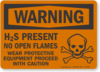 H2S Present No Open Flames OSHA Warning Sign