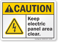Keep Electric Panel Area Clear ANSI Caution Sign