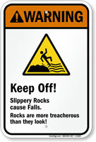 Warning  Keep Off! Slippery Rocks Sign