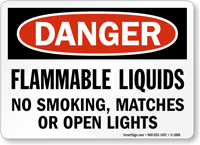 Flammable Liquids No Smoking, Matches, Open Lights Sign