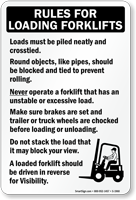 Rules For Loading Forklifts Sign(with graphic)