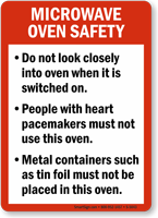 Microwave Oven Safety Guidelines Sign