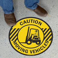 Caution Moving Vehicles Floor Sign