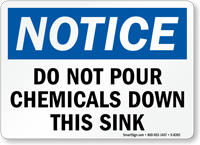 No Pouring Chemicals Sink Sign
