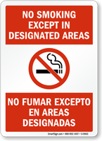 No Smoking Except No Fumar Excepto Sign