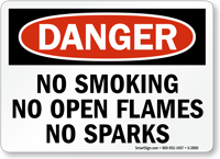 Danger No Smoking No Open Flames Sparks Sign