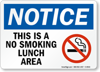 No Smoking Lunch Area (symbol) Sign