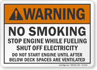 No Smoking Stop Engine While Fueling ANSI Warning Sign