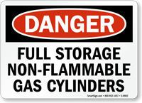 OSHA Danger Full Storage Non-Flammable Gas Cylinder Sign