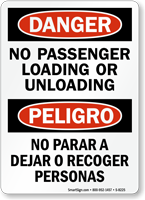 No Passenger Loading Unloading Bilingual Sign