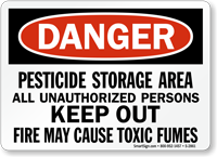 Pesticide Storage Area All UnauthorizedSign or Label OSHA Danger