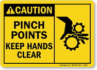 Caution Pinch Points Keep Hands Clear Sign