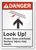Look Up Power Lines Overhead ANSI Danger Sign