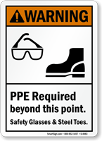 PPE Required Safety Glasses Steel Toes Warning Sign