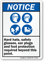 Hard Hats Safety Glasses Ear Plugs Required Sign