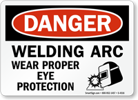 Danger Welding Arc Wear Protection Sign