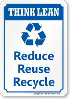 Reduce Reuse Recycle Think Lean Sign