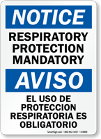 Respiratory Protection Mandatory Bilingual Notice Sign